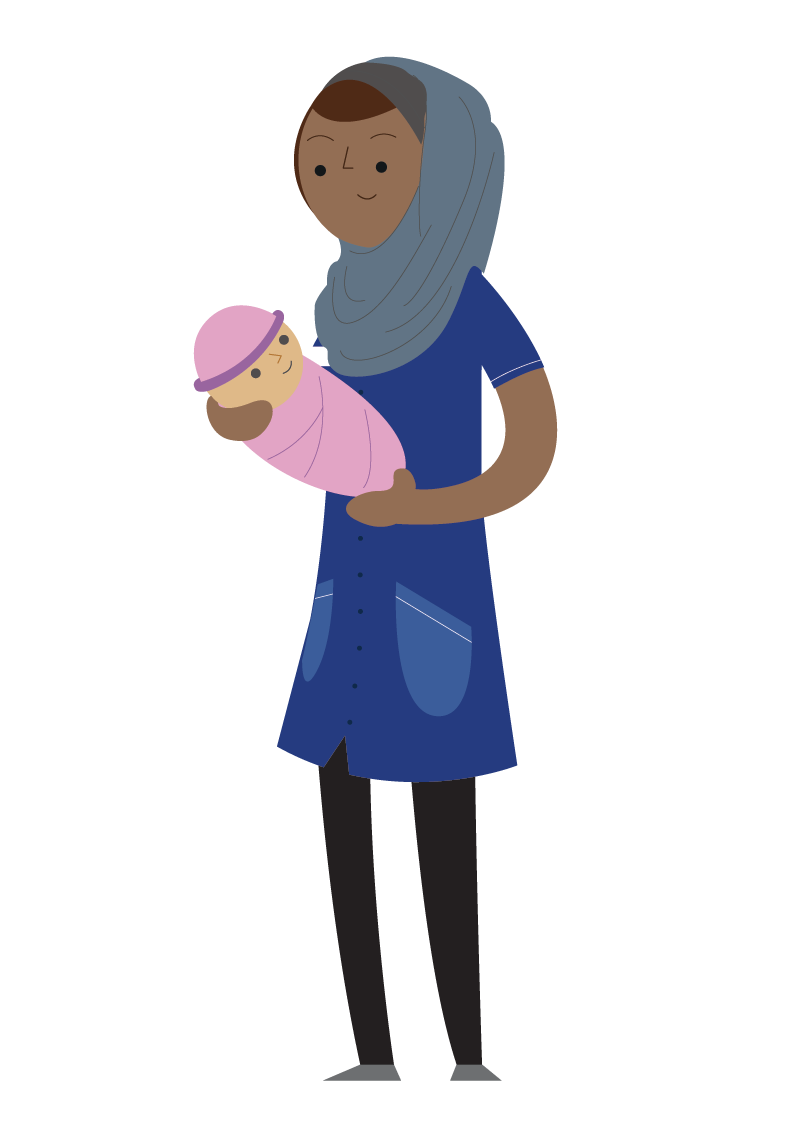 Illustration of midwife and baby