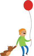 Illustration of a boy with a balloon