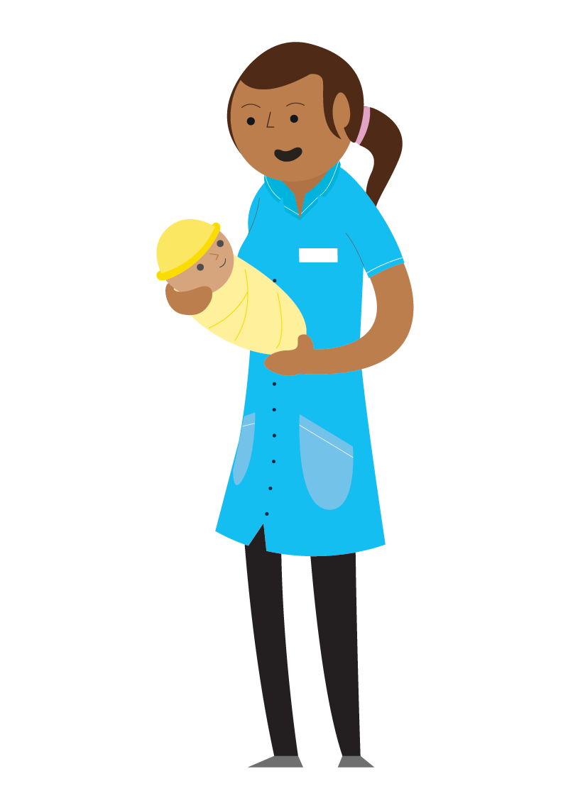 Illustration of a nurse with a baby