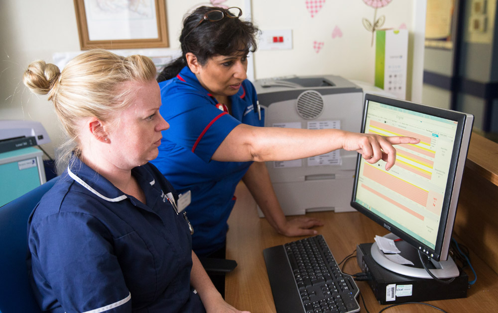 Nurses reviewing the system from our RAPID research project