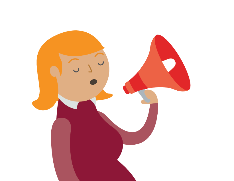 Graphic of woman talking into a microphone