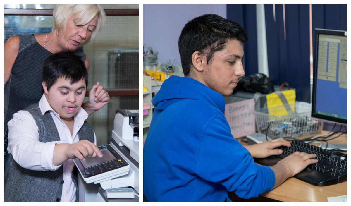 Hasseb and Akram working who are two our the young on our Learning Disability programme.